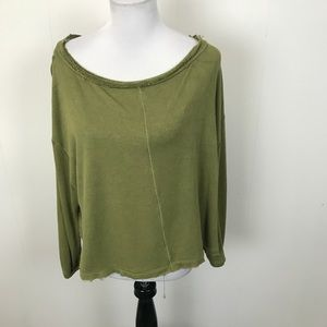 Free People Good Green Terry Pullover Sweatshirt